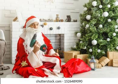 Santa with construction tools christmas