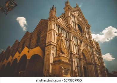Santa Croce basilica and statue of Dante Alighieri in Florance, Italy