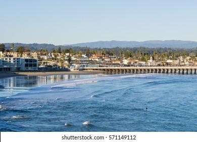 Santa Cruz bay and wharf at sunset, California