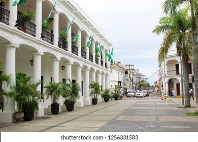 SANTA CRUZ, BOLIVIA NOV, 2018: Plaza principal 24 de Septiembre Santa Cruz de la Sierra city center, Bolivia. during summer