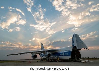 Santa Cruz, Bolivia - September 7th, 2019: Antonov in Bolivia offloading the aircraft to fight fires in the amazon.