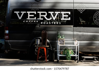 SANTA CRUZ, CA - SEPTEMBER 14 2019: Coffee truck for the riders at the Old Growth Classic bike race.