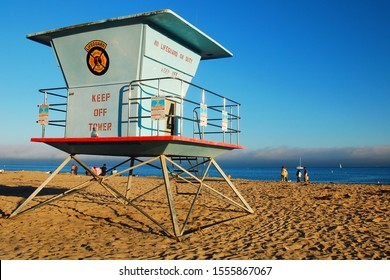 Santa Cruz, CA, USA August 12, 2010 A lifeguard station in Santa Cruz, California Stands on the sands of the beach in the late afternoon