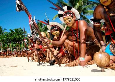 santa cruz cabralia, bahia / brazil - april 17, 2010: Pataxó Indians are seen during indigenous games in the Coroa Vermelha village in the city of Santa Cruz Cabralia.