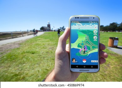 "SANTA CRUZ, CALIFORNIA - JULY 10, 2016: The hit augmented reality smartphone app ""Pokemon GO"" shows a the game map based on real-world landmarks around the player's location."
