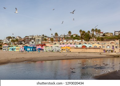 Santa Cruz, California, USA - March 31, 2018: Colorful houses at Capitola Village by the Sea, one of the oldest vacation retreats on the Pacific Coast.