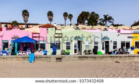 santa cruz california usa march 31 2018 colorful houses at capitola