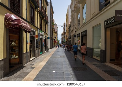 SANTA CRUZ, CANARY ISLANDS, SPAIN - JULY 28, 2018: Shopping streets in the historic part of the city. Santa Cruz is the capital city of Tenerife.