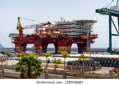 SANTA CRUZ, CANARY ISLANDS, SPAIN - JULY 28, 2018: Platform Floatel Reliance in the seaport. Floatel Reliance is a semi-submersible accommodation and construction support vessel.