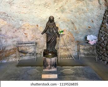 Santa Cruz Chapel, Oran, Algeria - April 1, 2017: Virgin Mary statue inside the chapel.