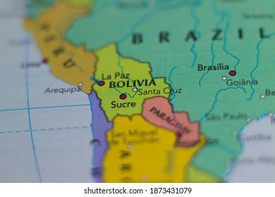Santa Cruz City in Bolivia on a map