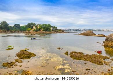 Santa Cruz coastline and harbor with a fortified island