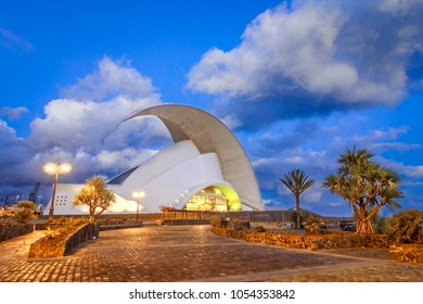 Santa Cruz de Tenerife, Canary Islands, Spain - February 20, 2018: Auditorio de Tenerife, iconic landmark - opera house of Santa Cruz de Tenerife in organic shapes, designed by Santiago Calatrava