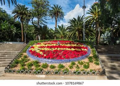 Santa Cruz de Tenerife, Canary Islands, Spain - Desember 11, 2016: Flower clock in Parque Garcia Sanabria, Santa Cruz de Tenerife, Tenerife Islands, Spain.