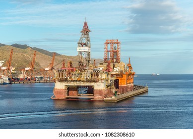 Santa Cruz de Tenerife, Canary Islands, Spain - Desember 11, 2016: Sea drill platform West Taurus in the harbour of the Santa Cruz de Tenerife, Canary Islands, Spain.
