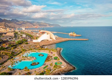 Santa Cruz de Tenerife Cityscape, Auditorium and Harbor in the Background, Canary Islands, Spain - Image - Image