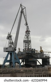 Santa Cruz de Tenerife- December 15, 2016- Oil platforms in maintenance at the dock of the port of Santa Cruz de Tenerife.