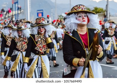 Santa Cruz de Tenerife, Spain, Canary Islands February 13, 2018: Carnival dancers on the parade at Carnaval Santa Cruz de Tenerife