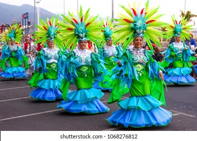 Santa Cruz de Tenerife, Spain, Canary Islands: February 13, 2018: Carnival dancers on the parade at Carnaval Santa Cruz de Tenerife