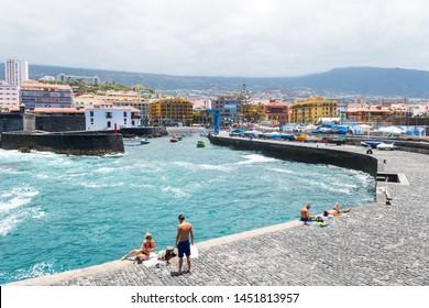santa cruz de tenerife, Spain. 14th June, 2019: views of puerto de la cruz touristic city