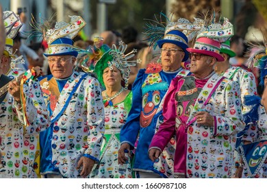 SANTA CRUZ DE TENERIFE, SPAIN - FEBRUARY 25, 2020: Coso parade - along the Avenida de Anaga, official end of Carnival. Again march carnival groups, floats, decorated cars and the Carnival Queens.