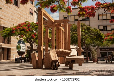 Santa Cruz de Tenerife, Tenerife / Spain - Circa July 2020: a wooden artwork in the town centre
