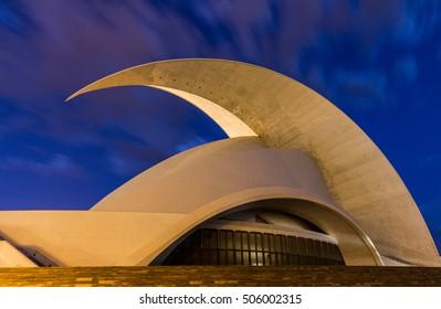 Santa Cruz de Tenerife, Spain -  September 12, 2016: Auditorio de Tenerife, Spain.Was built in 2003 and has become an architectural symbol of city Santa Cruz de Tenerife.