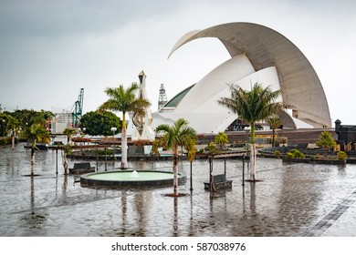 SANTA CRUZ DE TENERIFE, SPAIN - 12.02.2017: Auditorio de Tenerife in Santa Cruz in Tenerife, Canary Islands, Spain. This auditorium was designed by famous architect Santiago Calatrava