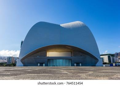 Santa Cruz de Tenerife, Spain, 10.20.2017: The backside of the auditorium in Santa Cruz de Tenerife as seen from a central perspective. The afternoon sun lights the scene.