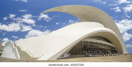 Santa Cruz de Tenerife,Spain-April 2017:Tenerife Auditorium (Auditorio de Tenerife) ,Santa Cruz de Tenerife