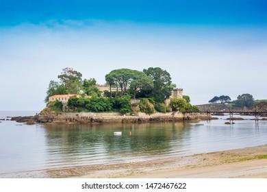 Santa Cruz island with its castle in Oleiros town, Galicia, Spain