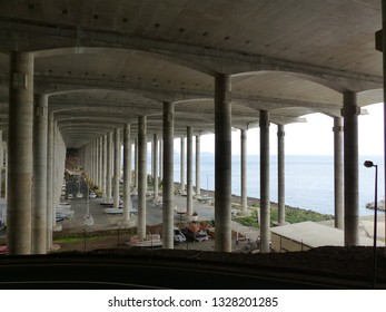 Santa Cruz, Portugal / Portugal - January 2019: Concrete pillars supporting the airport runaway
