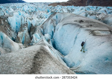 SANTA CRUZ PROVINCE, ARGENTINA - January 2, 2015: Ice Trekking on Viedma Glacier, located in Los Glaciares National Park, in the Patagonia region of Argentina