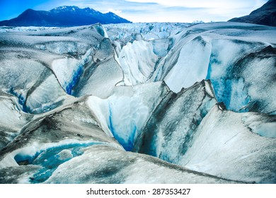 SANTA CRUZ PROVINCE, ARGENTINA - January 2, 2015: Viedma Glacier, located in Los Glaciares National Park, in the Patagonia region of Argentina