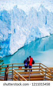 Santa Cruz Province/Argentina - May 22, 2017: Tourists at the Perito Moreno glacier, Argentina.