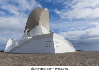 Santa Cruz, Spain - December 6, 2014:  Front and side face of Concert hall of architect Calatrava on Tenerife on the Canary Islands.