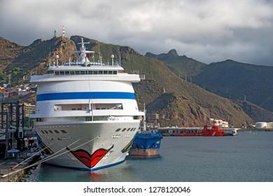 Santa Cruz, Spain, November 6-2018, Aida cruise ship