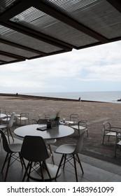 "Santa Cruz, Tenerife - July 3, 2019; Outside view on the cafe in Auditorio de Tenerife. The Auditorio de Tenerife ""Adán Martín"". It's an auditorium in Santa Cruz de Tenerife, Canary Islands."