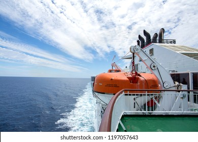 Santa Cruz of Tenerife, Spain - 7 June 2018: Main deck of ferry from armas liner. Life boats are hanging from the deck in Santa Cruz of Tenerife, Spain.