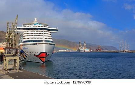 SANTA CRUZ, TENERIFE, SPAIN - NOVEMBER 12, 2018: The cruise liner Aida Perla moored in the harbor of Santa Cruz de Tenerife