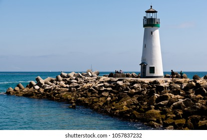 Santa Cruz, USA - May 2, 2015: View of thr Santa Cruz Breakwater Light (Walton Lighthouse)