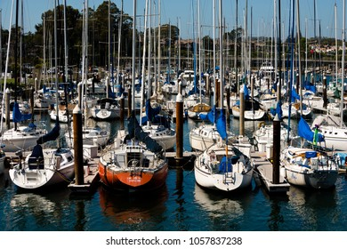 Santa Cruz, USA - May 2, 2015: Yacht club in the harbor