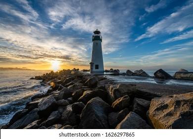 Santa Cruz's Breakwater Lighthouse at Dawn