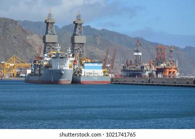 Santa Cruz,Tenerife,Spain,07-02-2018: oil and  gas platform