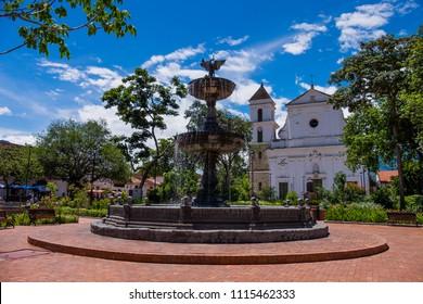 Santa Fé de Antioquia/Colombia - 06.05.2018: View of the main square