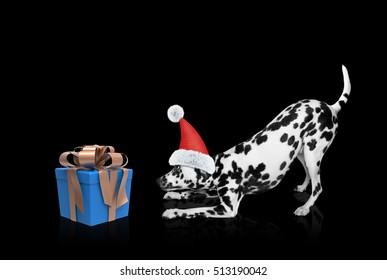 Santa dog near new year gift -- isolated on black