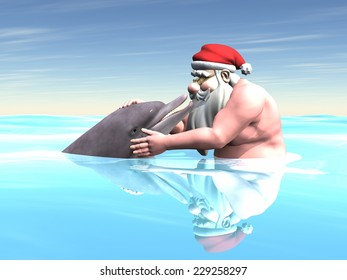 Santa with a Dolphin - Santa Claus touching and looking at a dolphin while swimming in the ocean.