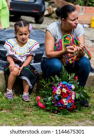 Santa Elena, Medellín, Antioquia, Colombia, July- 22 - 2018. 600 silleterites between the age of 4 months to 12 years, anticipate the flower fair in the village of Santa Elena in Medellín.