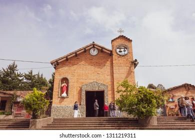 Santa Elena, Antioquia / Colombia November 06, 2016. Main parish of the Santa Elena district It is located east of the city and the head of Santa Elena is located 17 kilometers from the city center.