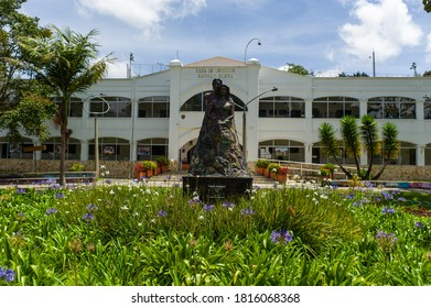 Santa Elena, Antioquia / Colombia - September 14 2020: Empty Park Full of Flowers in Front of the Government House in Santa Elena